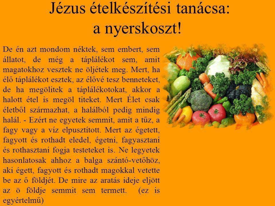 Jézus ételkészítési tanácsa: a nyerskoszt! De én azt mondom néktek, sem embert, sem állatot, de még a táplálékot sem, amit magatokhoz vesztek ne öljét