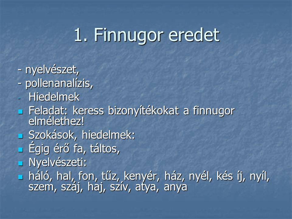 1. Finnugor eredet - nyelvészet, - pollenanalízis, - Hiedelmek Feladat: keress bizonyítékokat a finnugor elmélethez! Feladat: keress bizonyítékokat a