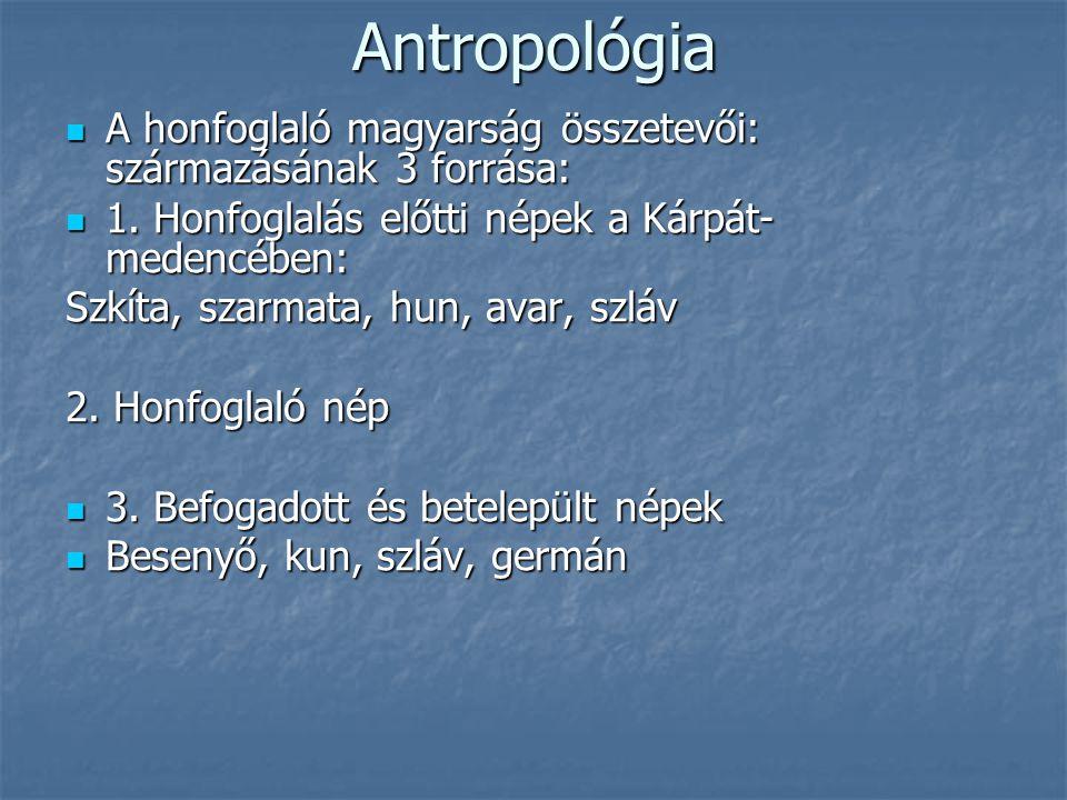 Antropológia A honfoglaló magyarság összetevői: származásának 3 forrása: A honfoglaló magyarság összetevői: származásának 3 forrása: 1. Honfoglalás el
