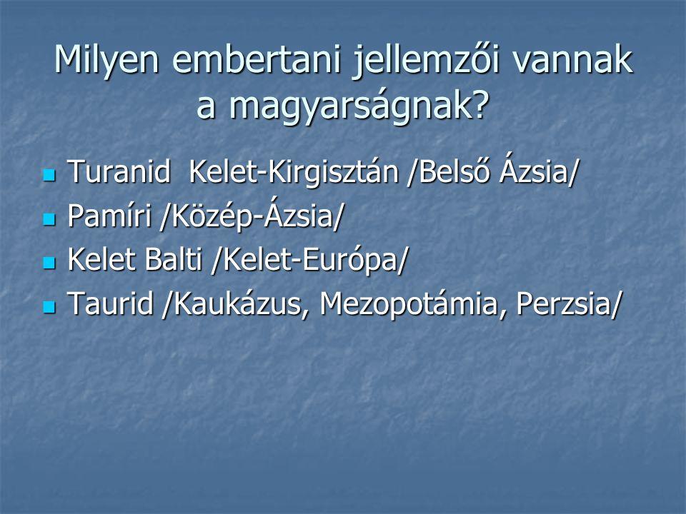 Milyen embertani jellemzői vannak a magyarságnak? Turanid Kelet-Kirgisztán /Belső Ázsia/ Turanid Kelet-Kirgisztán /Belső Ázsia/ Pamíri /Közép-Ázsia/ P