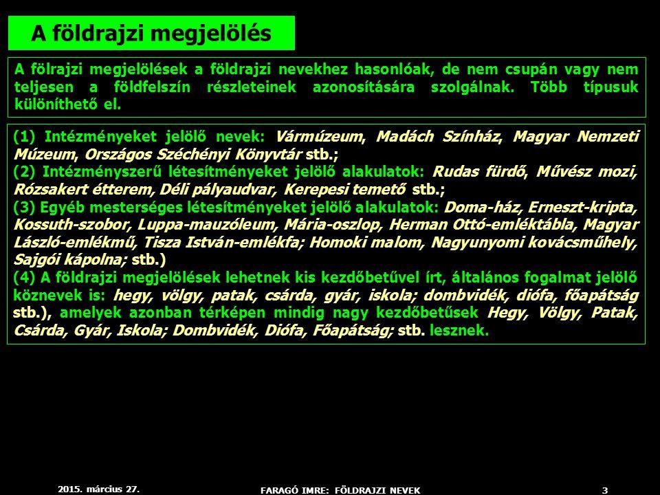 2015. március 27. FARAGÓ IMRE: FÖLDRAJZI NEVEK3 A földrajzi megjelölés A fölrajzi megjelölések a földrajzi nevekhez hasonlóak, de nem csupán vagy nem