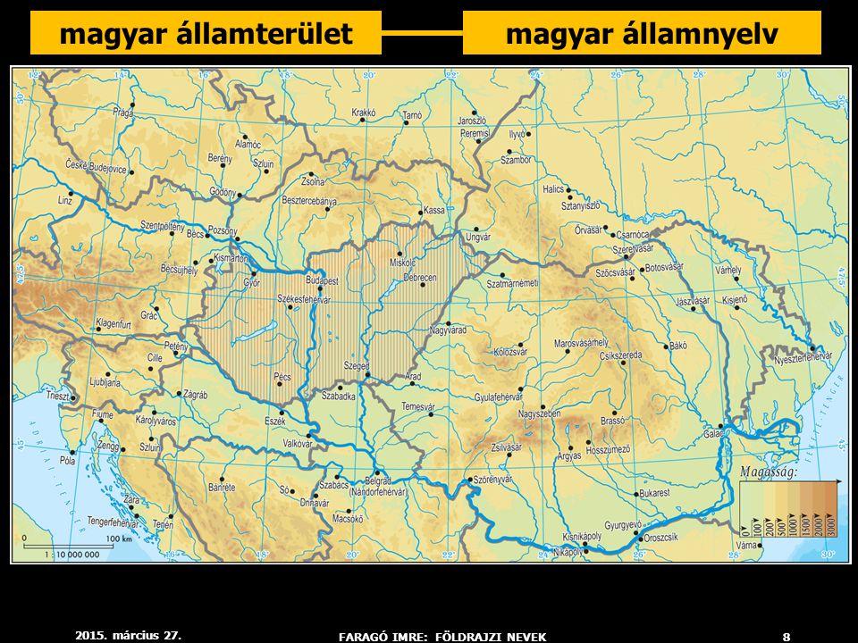 2015. március 27. FARAGÓ IMRE: FÖLDRAJZI NEVEK8 magyar államterületmagyar államnyelv
