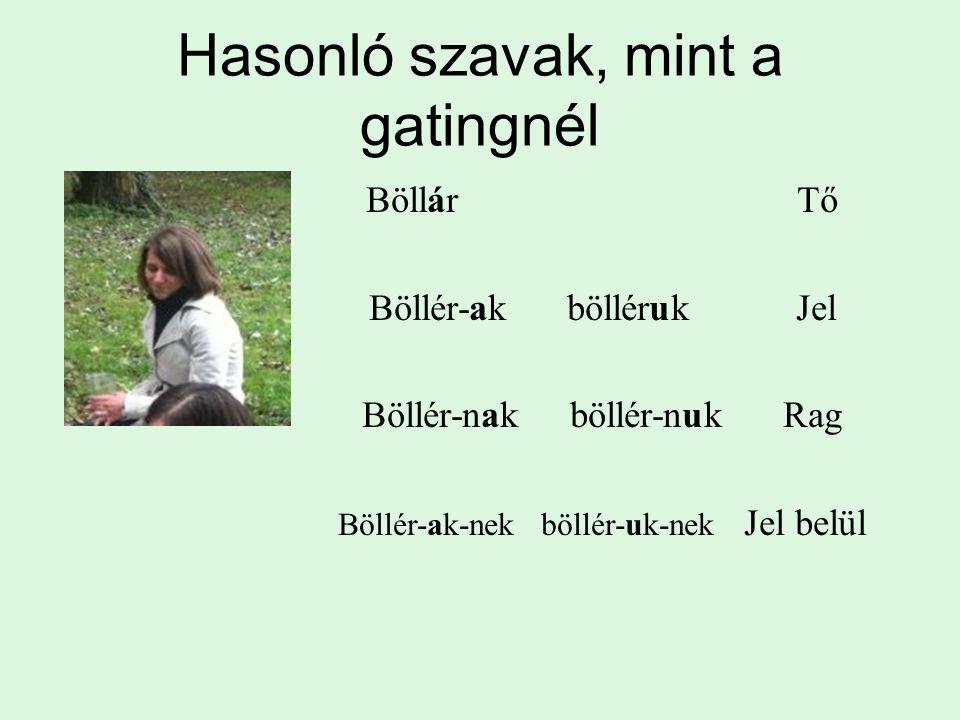 Hasonló szavak, mint a gatingnél Böllár Tő Böllér-ak bölléruk Jel Böllér-nak böllér-nuk Rag Böllér-ak-nek böllér-uk-nek Jel belül