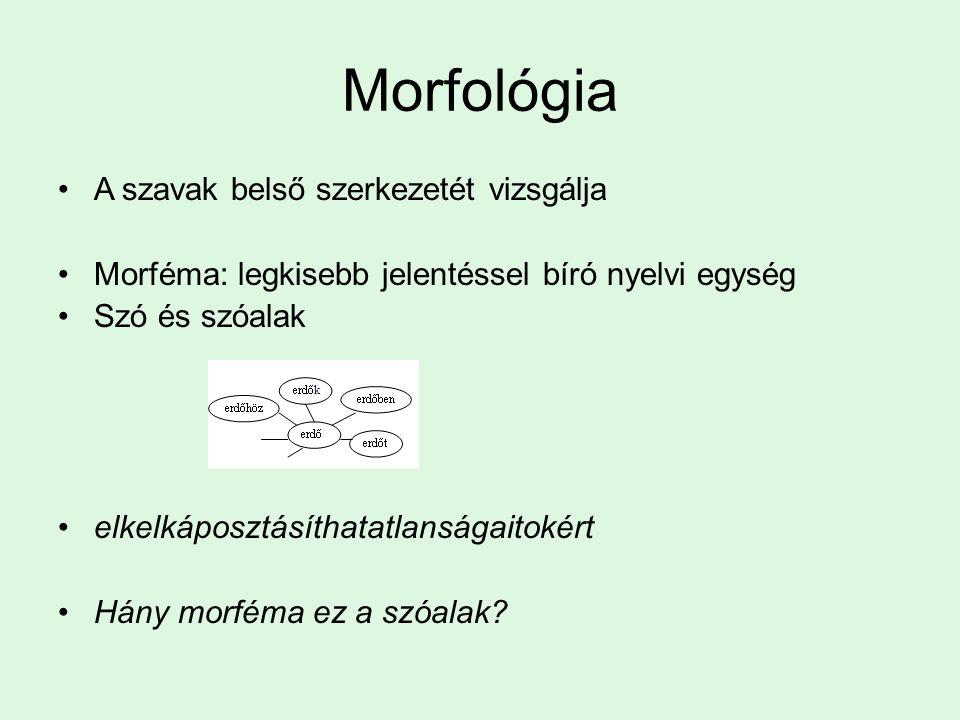 Morfológiai folyamatok A morfémák kombinációkészsége nyelvről nyelvre változik: –Poliszintetikus nyelvek: többszörösen összetett szavak, teljes mondatokat fejezhet ki egy szó.