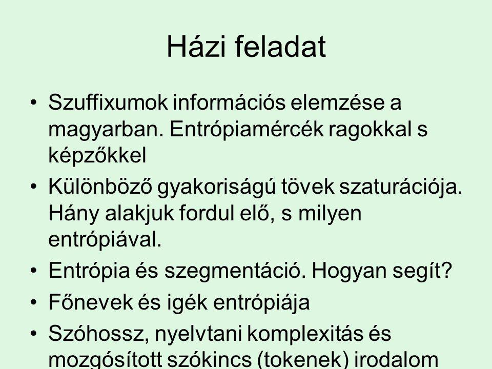 Házi feladat Szuffixumok információs elemzése a magyarban. Entrópiamércék ragokkal s képzőkkel Különböző gyakoriságú tövek szaturációja. Hány alakjuk