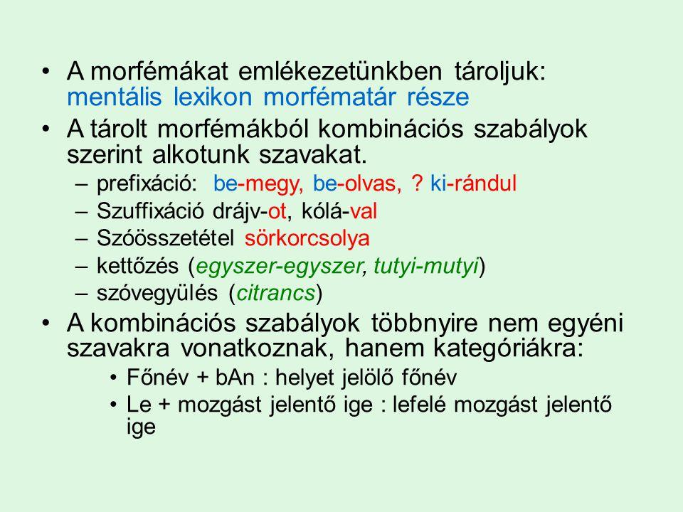 A morfémákat emlékezetünkben tároljuk: mentális lexikon morfématár része A tárolt morfémákból kombinációs szabályok szerint alkotunk szavakat. –prefix