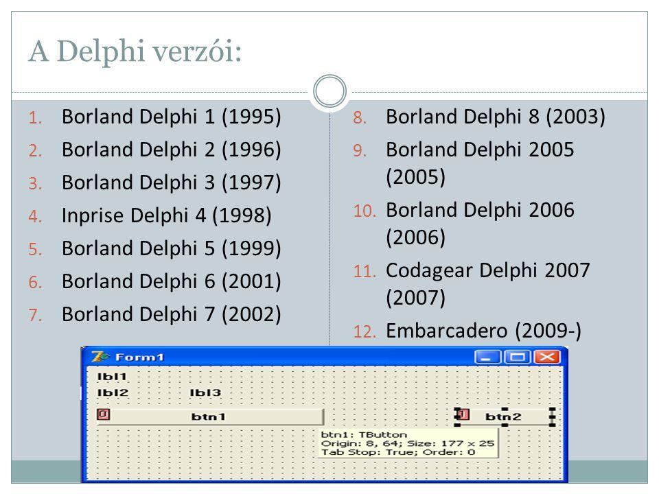 A Delphi verzói: 1. Borland Delphi 1 (1995) 2. Borland Delphi 2 (1996) 3. Borland Delphi 3 (1997) 4. Inprise Delphi 4 (1998) 5. Borland Delphi 5 (1999