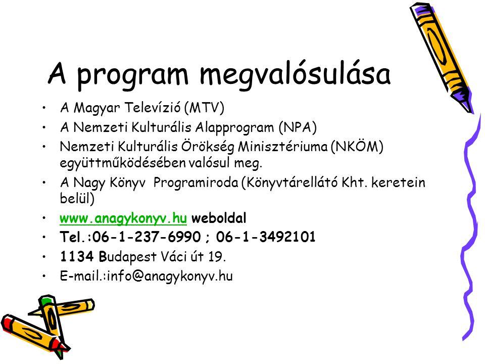 A program megvalósulása A Magyar Televízió (MTV) A Nemzeti Kulturális Alapprogram (NPA) Nemzeti Kulturális Örökség Minisztériuma (NKÖM) együttműködésében valósul meg.