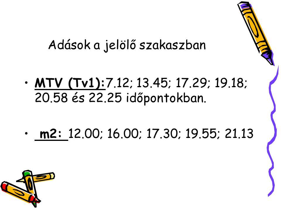 Adások a jelölő szakaszban MTV (Tv1):7.12; 13.45; 17.29; 19.18; 20.58 és 22.25 időpontokban.
