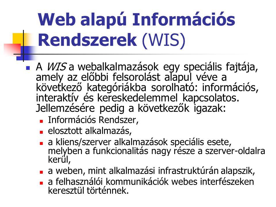 Web alapú Információs Rendszerek (WIS) A WIS a webalkalmazások egy speciális fajtája, amely az előbbi felsorolást alapul véve a következő kategóriákba