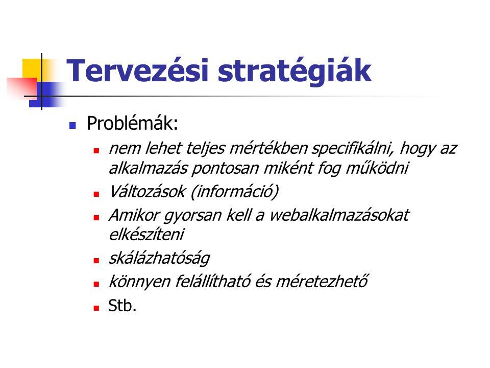 Tervezési stratégiák Problémák: nem lehet teljes mértékben specifikálni, hogy az alkalmazás pontosan miként fog működni Változások (információ) Amikor