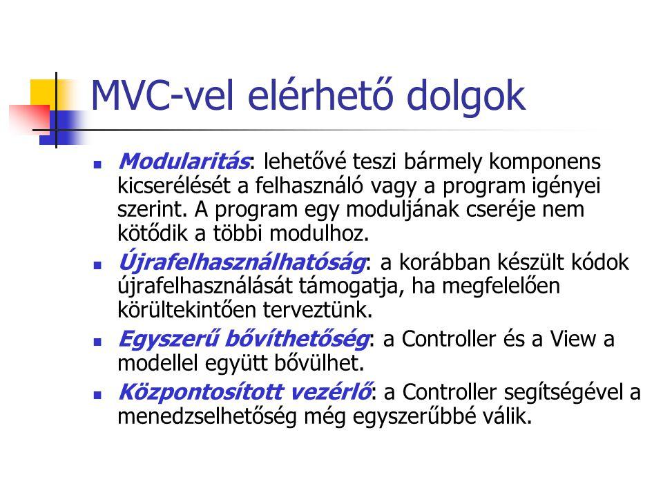 MVC-vel elérhető dolgok Modularitás: lehetővé teszi bármely komponens kicserélését a felhasználó vagy a program igényei szerint. A program egy moduljá
