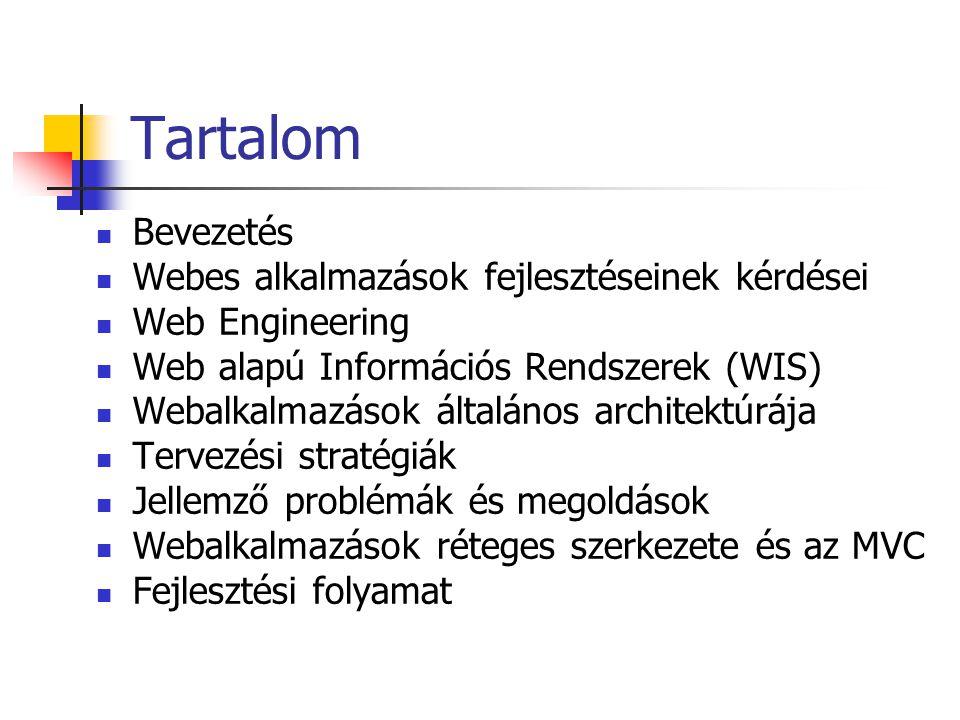 Tartalom Bevezetés Webes alkalmazások fejlesztéseinek kérdései Web Engineering Web alapú Információs Rendszerek (WIS) Webalkalmazások általános archit