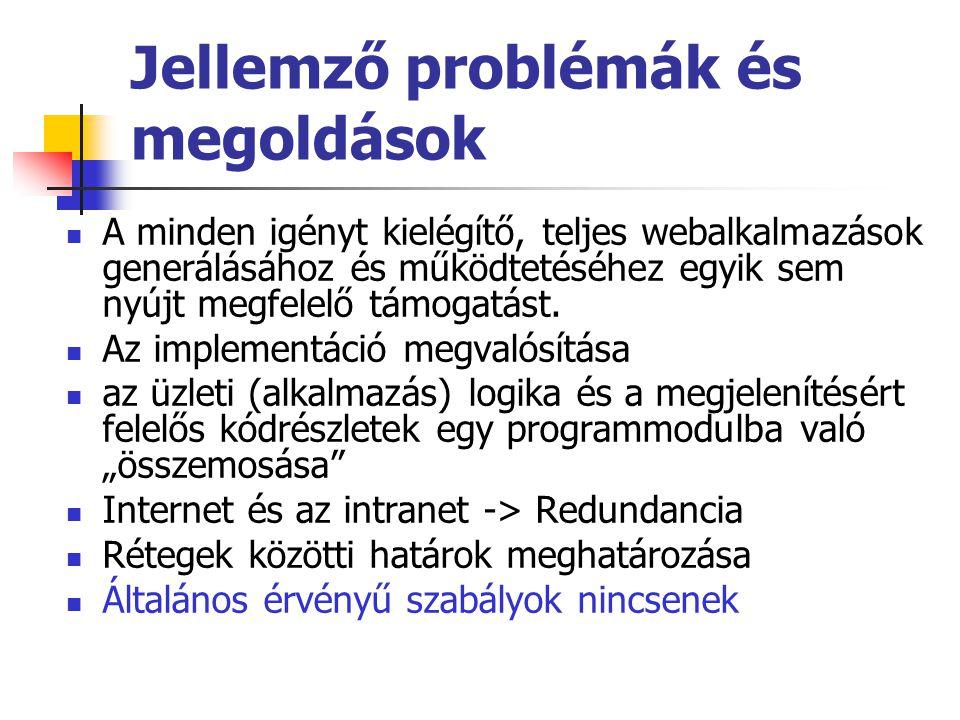 Jellemző problémák és megoldások A minden igényt kielégítő, teljes webalkalmazások generálásához és működtetéséhez egyik sem nyújt megfelelő támogatás