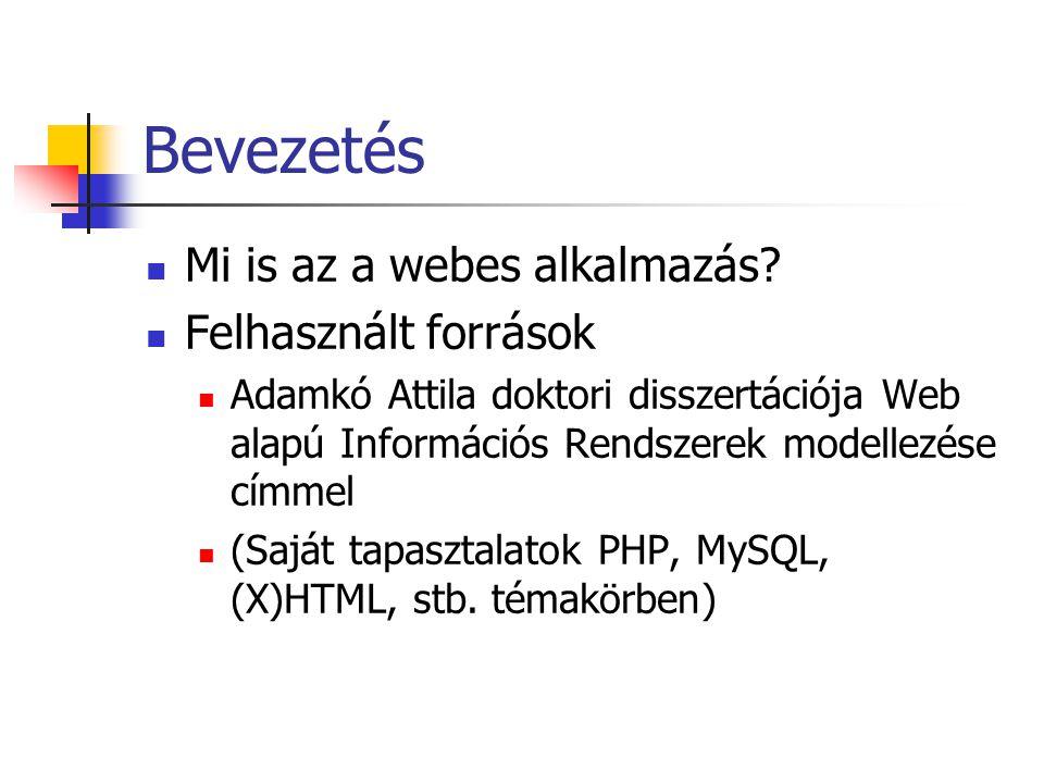 Bevezetés Mi is az a webes alkalmazás? Felhasznált források Adamkó Attila doktori disszertációja Web alapú Információs Rendszerek modellezése címmel (