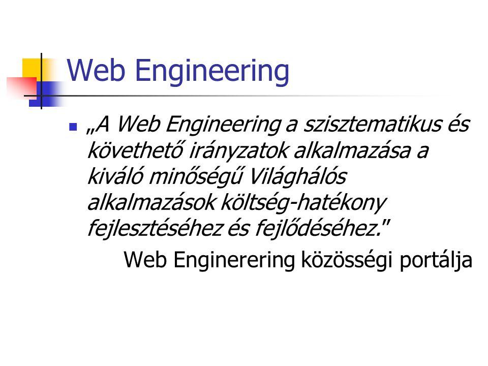 """Web Engineering """"A Web Engineering a szisztematikus és követhető irányzatok alkalmazása a kiváló minőségű Világhálós alkalmazások költség-hatékony fej"""