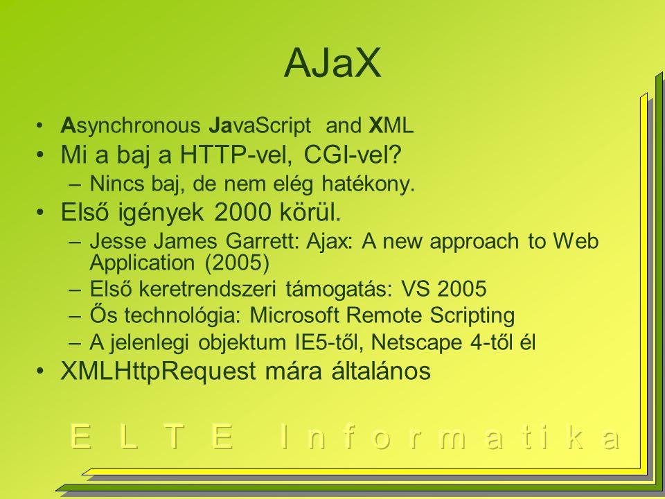 AJaX Asynchronous JavaScript and XML Mi a baj a HTTP-vel, CGI-vel.