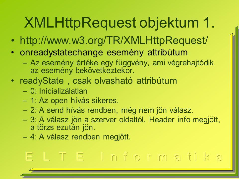 XMLHttpRequest objektum 1.