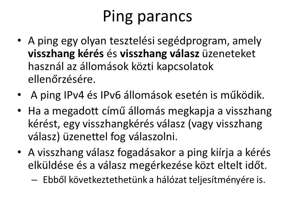Ping parancs A ping egy olyan tesztelési segédprogram, amely visszhang kérés és visszhang válasz üzeneteket használ az állomások közti kapcsolatok ellenőrzésére.