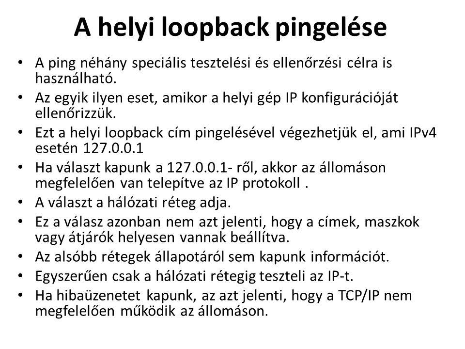 A helyi loopback pingelése A ping néhány speciális tesztelési és ellenőrzési célra is használható. Az egyik ilyen eset, amikor a helyi gép IP konfigur