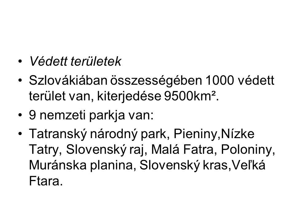Védett területek Szlovákiában összességében 1000 védett terület van, kiterjedése 9500km². 9 nemzeti parkja van: Tatranský národný park, Pieniny,Nízke