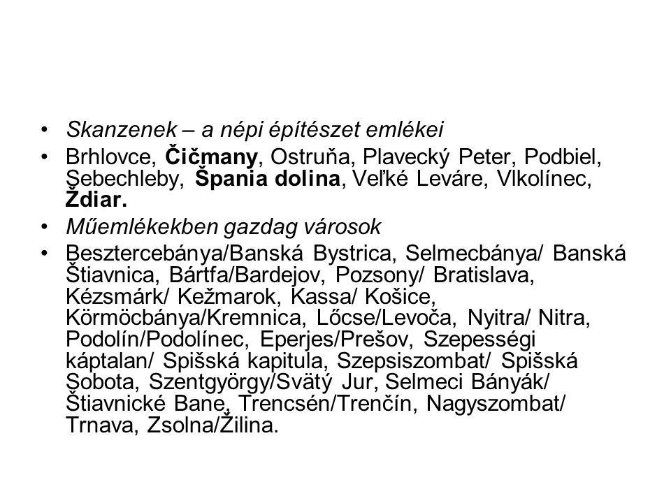 Skanzenek – a népi építészet emlékei Brhlovce, Čičmany, Ostruňa, Plavecký Peter, Podbiel, Sebechleby, Špania dolina, Veľké Leváre, Vlkolínec, Ždiar. M