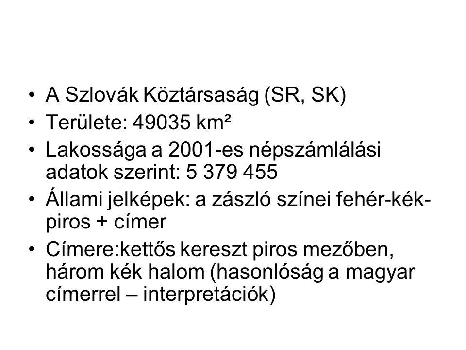 A Szlovák Köztársaság (SR, SK) Területe: 49035 km² Lakossága a 2001-es népszámlálási adatok szerint: 5 379 455 Állami jelképek: a zászló színei fehér-