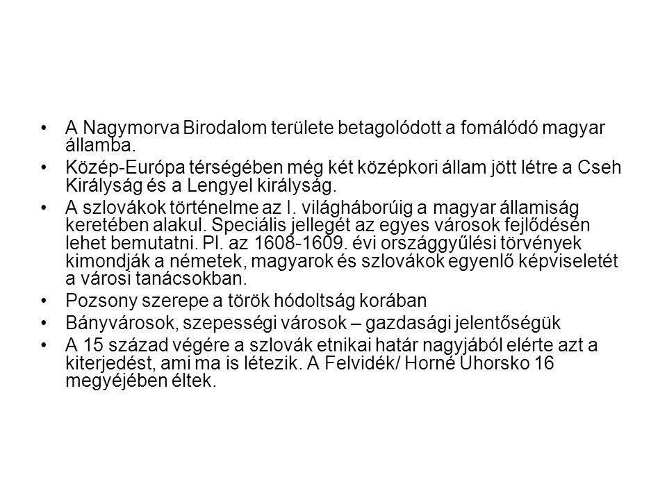A Nagymorva Birodalom területe betagolódott a fomálódó magyar államba. Közép-Európa térségében még két középkori állam jött létre a Cseh Királyság és