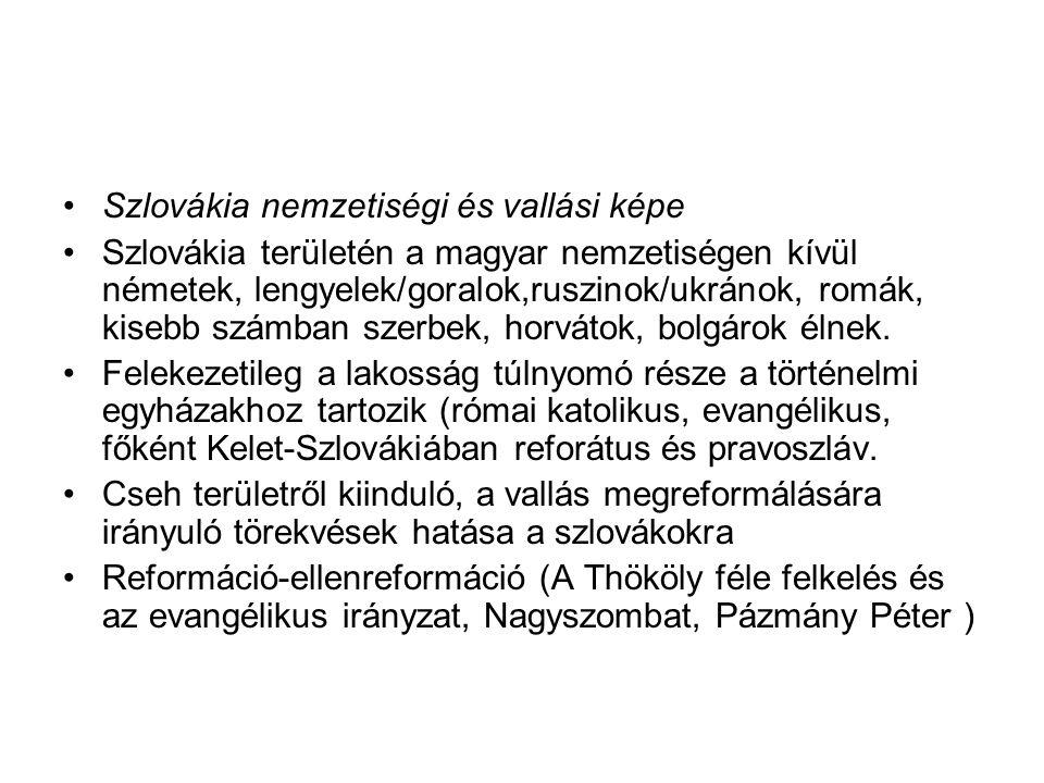 Szlovákia nemzetiségi és vallási képe Szlovákia területén a magyar nemzetiségen kívül németek, lengyelek/goralok,ruszinok/ukránok, romák, kisebb számb
