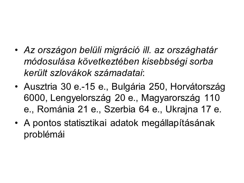Az országon belüli migráció ill. az országhatár módosulása következtében kisebbségi sorba került szlovákok számadatai: Ausztria 30 e.-15 e., Bulgária