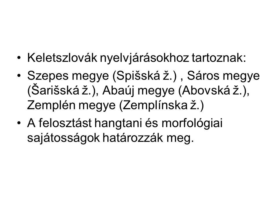 Keletszlovák nyelvjárásokhoz tartoznak: Szepes megye (Spišská ž.), Sáros megye (Šarišská ž.), Abaúj megye (Abovská ž.), Zemplén megye (Zemplínska ž.)