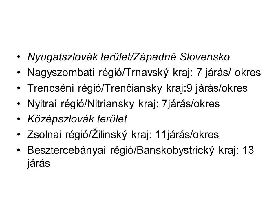 A középszlovák nyelvjárásokat két csoportra osztjuk: északiak: Túróc megye (Turčianska ž.), Árva megye (Oravská ž.), Liptó megye (Liptovská ž.), déliek: Bars megye (Tekovská ž.) Zólyom megye (Zvolenská ž.), Gömör megye (Gemerská ž.), Nógrád megye (Novohradská ž.), Hont megye (Hontianska ž.)