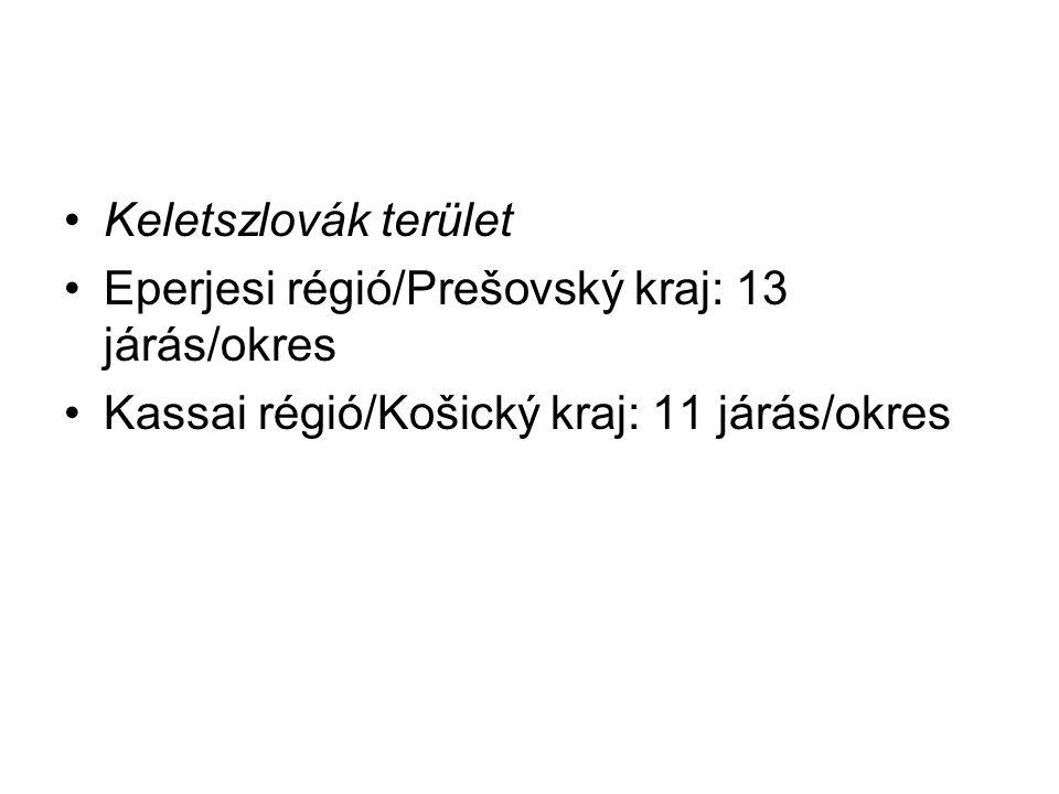 Keletszlovák terület Eperjesi régió/Prešovský kraj: 13 járás/okres Kassai régió/Košický kraj: 11 járás/okres