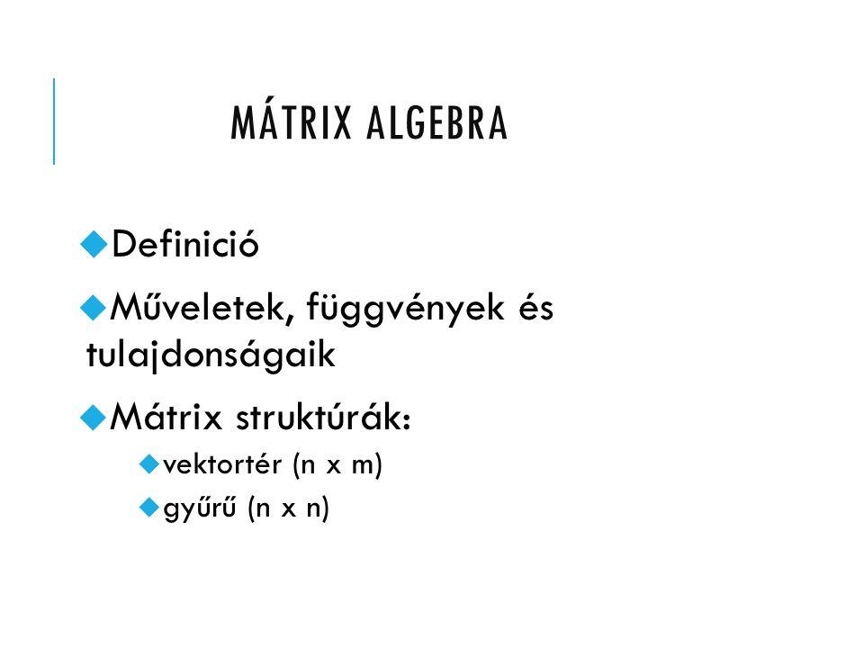 MÁTRIX ALGEBRA u Definició  Műveletek, függvények és tulajdonságaik  Mátrix struktúrák:  vektortér (n x m)  gyűrű (n x n)