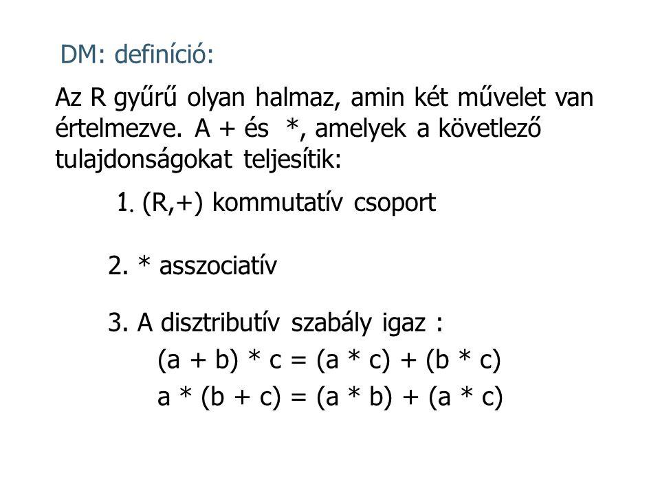 DM: definíció: Az R gyűrű olyan halmaz, amin két művelet van értelmezve. A + és *, amelyek a követlező tulajdonságokat teljesítik: 1. (R,+) kommutatív