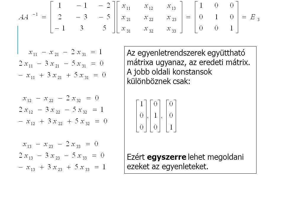 Az egyenletrendszerek együttható mátrixa ugyanaz, az eredeti mátrix. A jobb oldali konstansok különböznek csak: Ezért egyszerre lehet megoldani ezeket