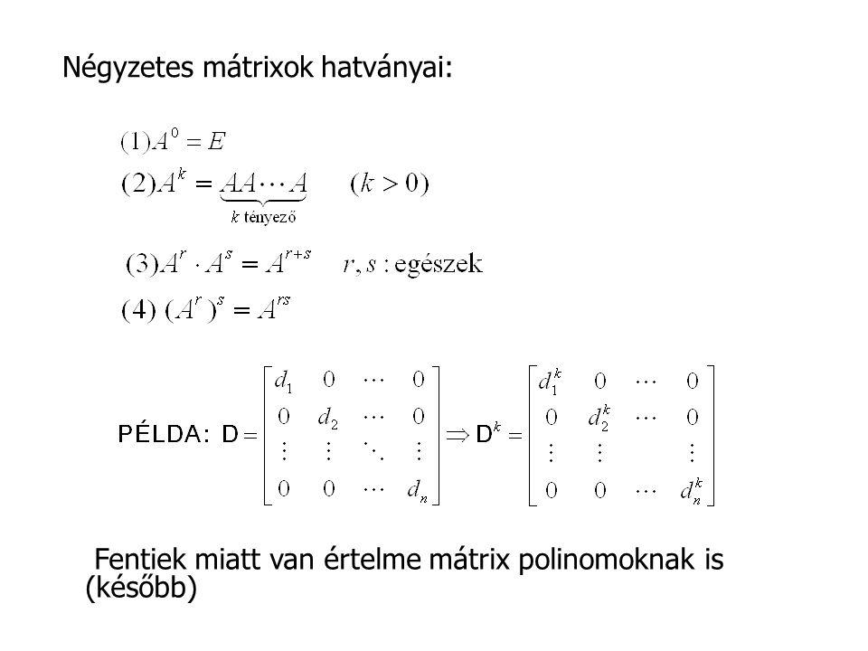 Négyzetes mátrixok hatványai: Fentiek miatt van értelme mátrix polinomoknak is (később)