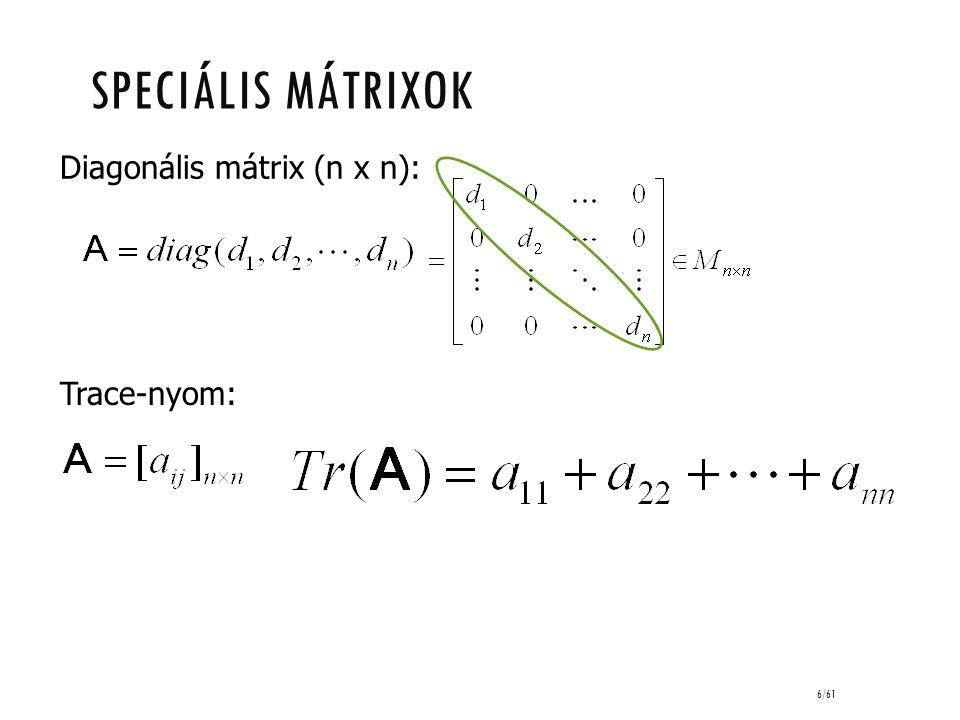 6/61 Diagonális mátrix (n x n): Trace-nyom: SPECIÁLIS MÁTRIXOK