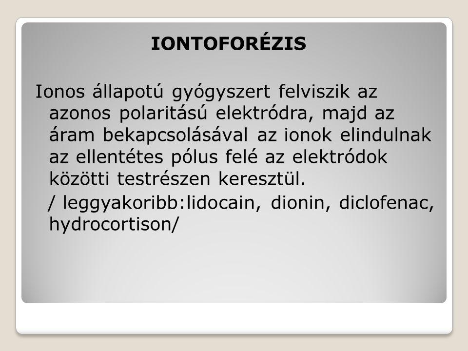 IONTOFORÉZIS Ionos állapotú gyógyszert felviszik az azonos polaritású elektródra, majd az áram bekapcsolásával az ionok elindulnak az ellentétes pólus