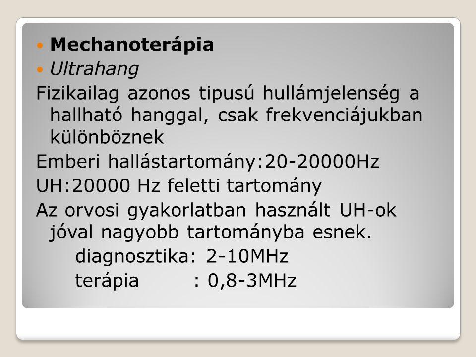 Mechanoterápia Ultrahang Fizikailag azonos tipusú hullámjelenség a hallható hanggal, csak frekvenciájukban különböznek Emberi hallástartomány:20-20000