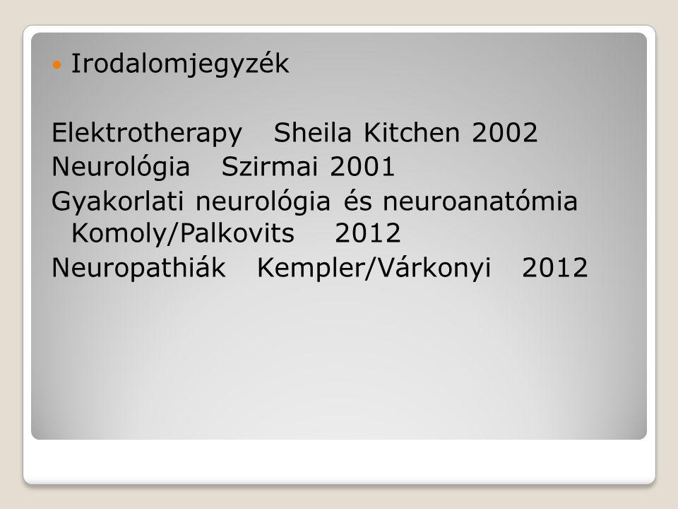 Irodalomjegyzék Elektrotherapy Sheila Kitchen 2002 Neurológia Szirmai 2001 Gyakorlati neurológia és neuroanatómia Komoly/Palkovits 2012 Neuropathiák K