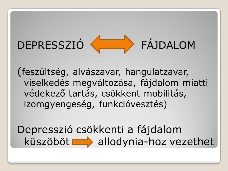 DEPRESSZIÓ FÁJDALOM ( feszültség, alvászavar, hangulatzavar, viselkedés megváltozása, fájdalom miatti védekező tartás, csökkent mobilitás, izomgyenges