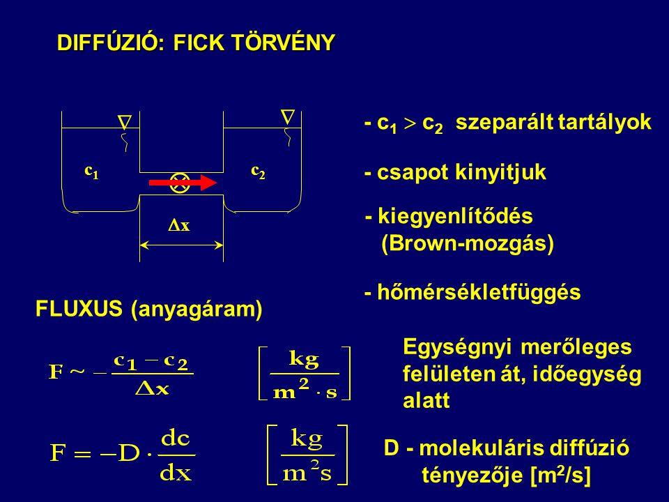 DIFFÚZIÓ: FICK TÖRVÉNY DIFFÚZIÓ: FICK TÖRVÉNY - c 1  c 2 szeparált tartályok - csapot kinyitjuk - kiegyenlítődés (Brown-mozgás) FLUXUS (anyagáram) D - molekuláris diffúzió tényezője [m 2 /s] - hőmérsékletfüggés Egységnyi merőleges felületen át, időegység alatt c1c1 c2c2  xx  