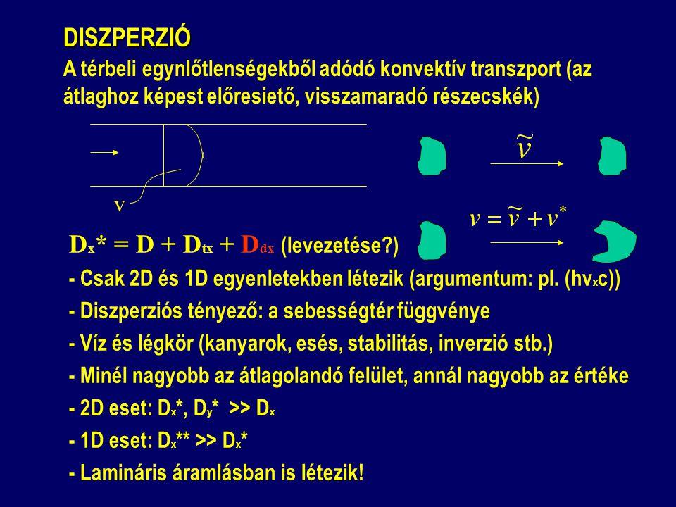 DISZPERZIÓ DISZPERZIÓ A térbeli egynlőtlenségekből adódó konvektív transzport (az átlaghoz képest előresiető, visszamaradó részecskék) v D x * = D + D tx + D dx (levezetése ) - Csak 2D és 1D egyenletekben létezik (argumentum: pl.