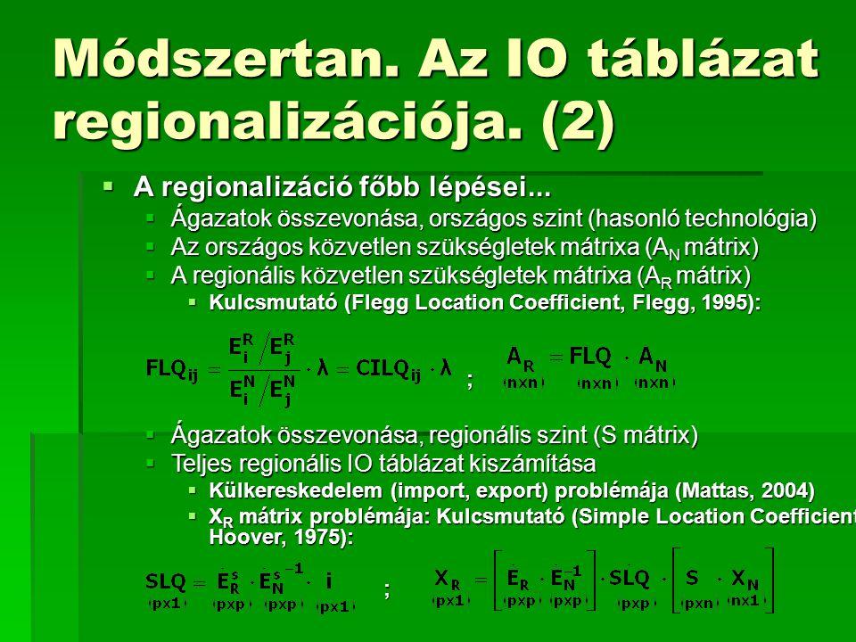 Módszertan. Az IO táblázat regionalizációja. (2)  A regionalizáció főbb lépései...  Ágazatok összevonása, országos szint (hasonló technológia)  Az
