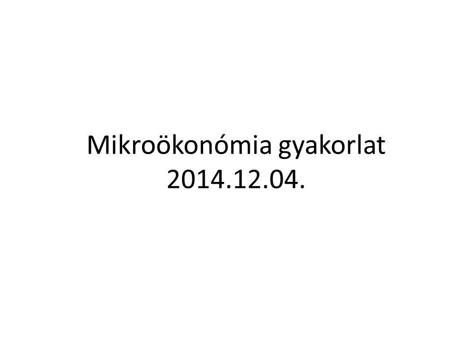 Mikroökonómia gyakorlat 2014.12.04.