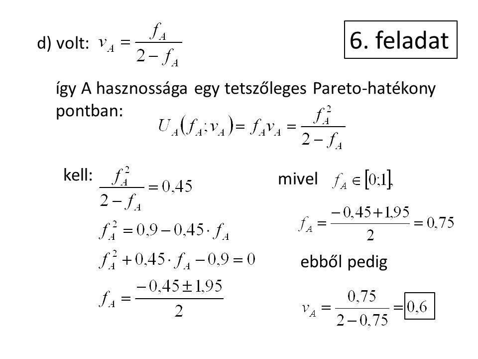 6. feladat d) volt: így A hasznossága egy tetszőleges Pareto-hatékony pontban: kell: mivel ebből pedig