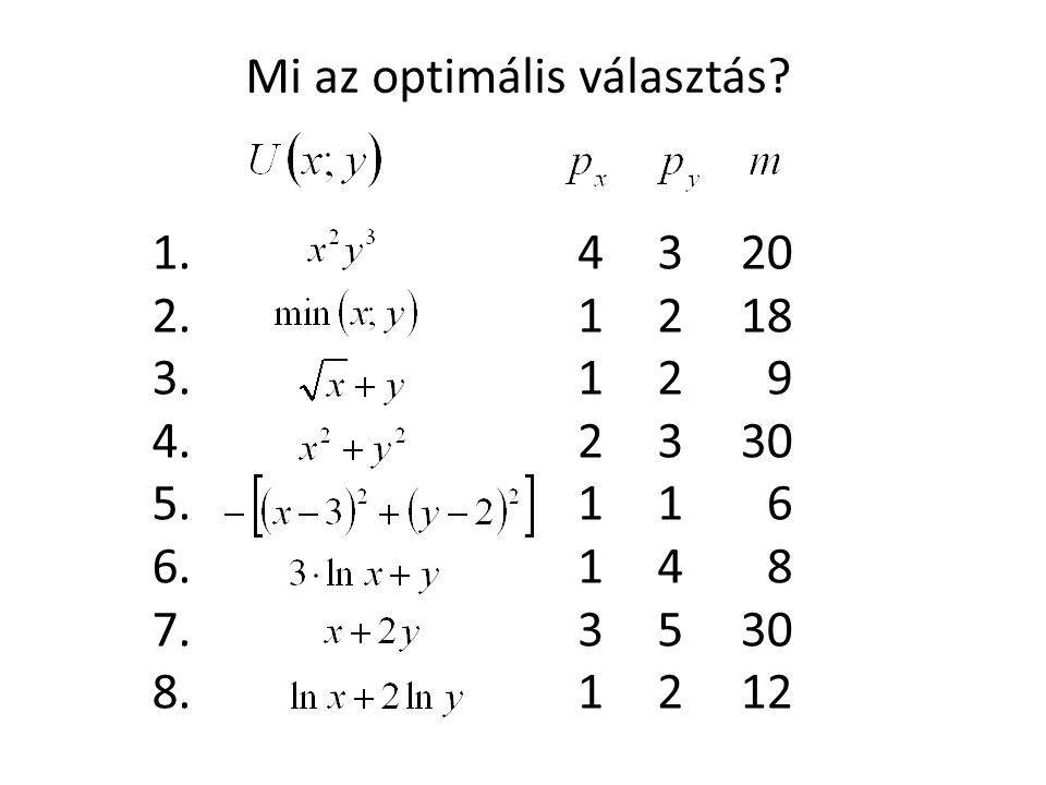 4 1 1 2 1 1 3 1 3 2 2 3 1 4 5 2 20 18 9 30 6 8 12 1. 2. 3. 4. 5. 6. 7. 8. Mi az optimális választás?
