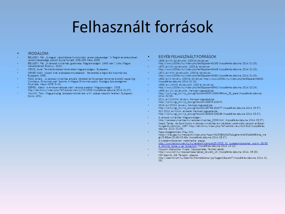 """Felhasznált források IRODALOM : BELUSZKY, Pál. """"A magyar városhálózat funkcionális versenyképessége."""" In Régiók és települések versenyképessége, szerz"""