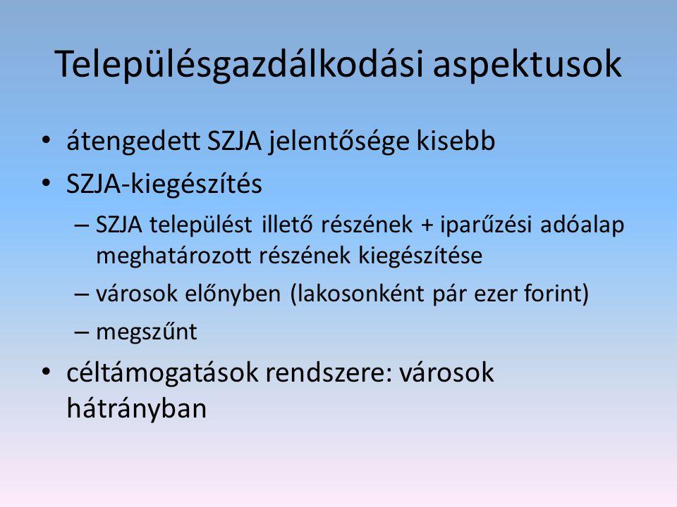 Településgazdálkodási aspektusok átengedett SZJA jelentősége kisebb SZJA-kiegészítés – SZJA települést illető részének + iparűzési adóalap meghatározo